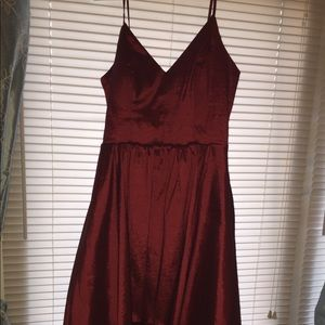 Burgundy High-Low homecoming or prom dress